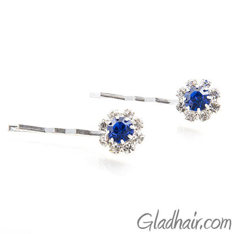 Swarovski Bobby Pins with Blue Crystal Stones - Pair