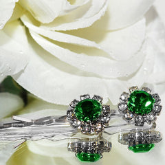Swarovski Bobby Pins with Green Crystal Stones - Pair