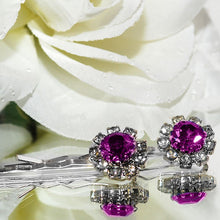 Load image into Gallery viewer, Swarovski Bobby Pins with Purple Crystal Stones - Pair