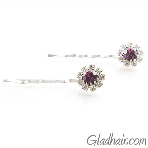 Swarovski Bobby Pins with Purple Crystal Stones - Pair