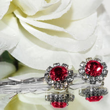 Load image into Gallery viewer, Swarovski Bobby Pins with Red Crystal Stones - Pair