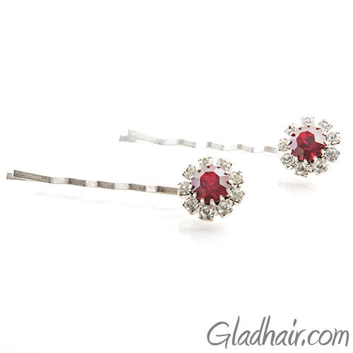 Swarovski Bobby Pins with Red Crystal Stones - Pair