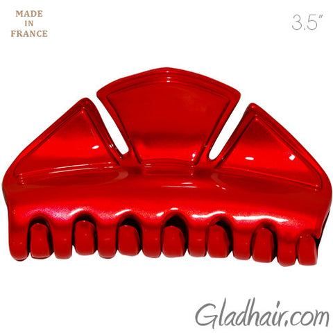 Metallic Red Color Hexagon Hair Claw