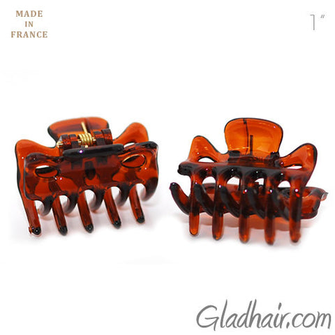Men Extra Tiny French Hair Claws in Tortoise Shell for Men with Long Hair- Pair