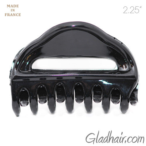 French Black Plastic Open Hair Claw