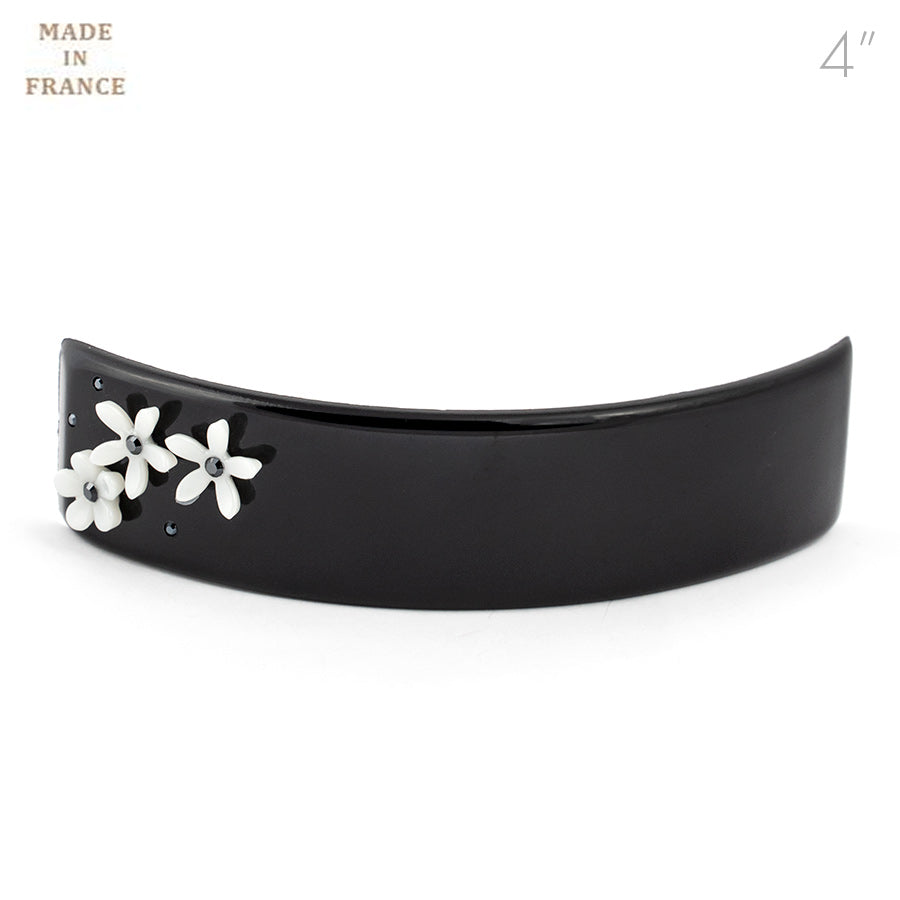 French Black Color Barrette with Flowers
