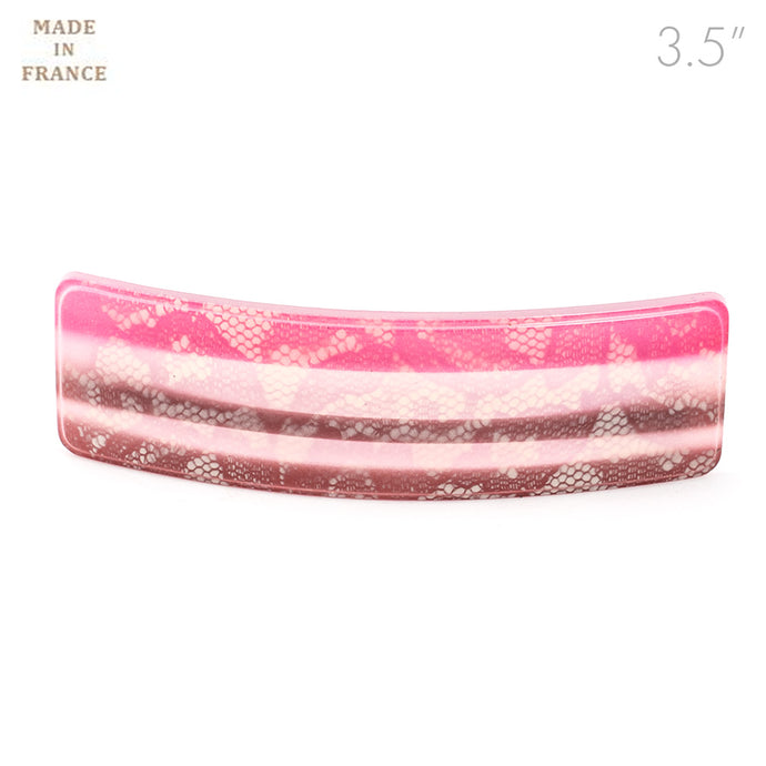French Pink Color Barrette with Lace Design