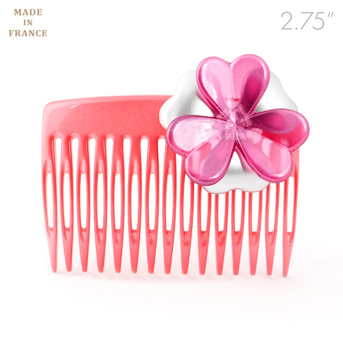 French Medium Pink Hair Comb with Flower