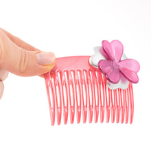Load image into Gallery viewer, French Medium Pink Hair Comb with Flower
