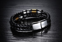 Load image into Gallery viewer, Double Layer Handmade Leather Chain Weaved Bracelet - 7.5in
