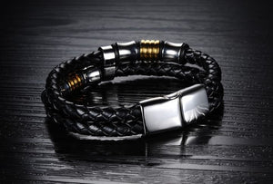 Double Layer Handmade Leather Chain Weaved Bracelet - 7.5in