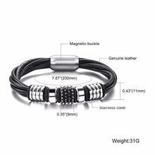 Load image into Gallery viewer, Leather Stainless Steel Charm Bracelet - 7.75in
