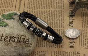 Leather Stainless Steel Charm Bracelet - 7.75in