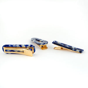 Blue Marble Design on Golden Beak Clip - Set of 3