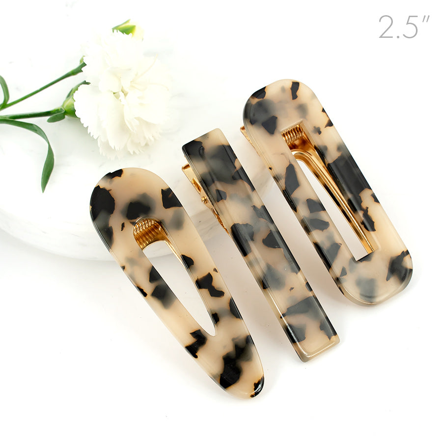 Leopard Marble Design on Golden Beak Clip - Set of 3