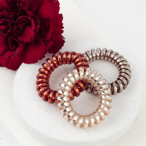 Unisex Shiny Spiral Hair Ties - Set of 3 Colors