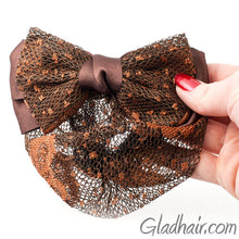 Load image into Gallery viewer, Bow Style Barrette with a Net for Bun