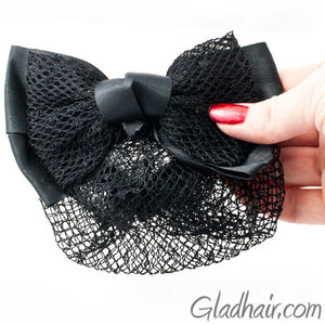 Bow Style Barrette with a Black Net for Bun