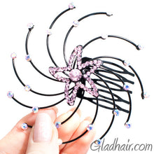 Load image into Gallery viewer, Starfish Shaped Spiral Style hair Comb with Pink Crystals