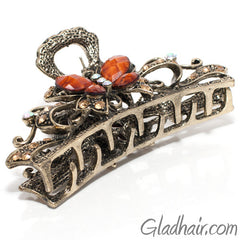 Metal Butterfly Style Hair Claw with Crystals