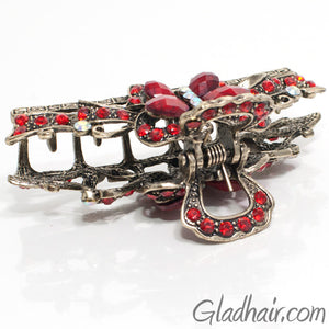 Metal Butterfly Style Hair Claw with Red Crystals