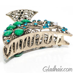 Metal Bird Style Hair Claw with Crystals