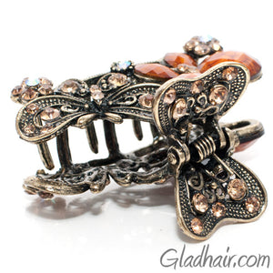 Metal Two Butterflies Style Hair Claw with Crystals