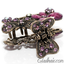Load image into Gallery viewer, Metal Two Butterflies Style Hair Claw with Crystals