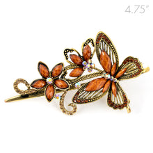 Load image into Gallery viewer, Metal Large Butterfly Style Beak Clip with Brown Crystals