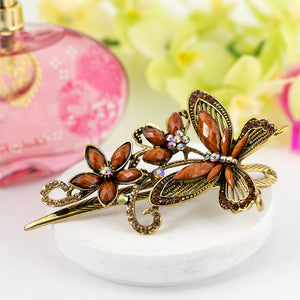 Metal Large Butterfly Style Beak Clip with Brown Crystals
