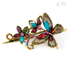 Load image into Gallery viewer, Metal Large Butterfly Style Beak Clip with Multi Color Crystals