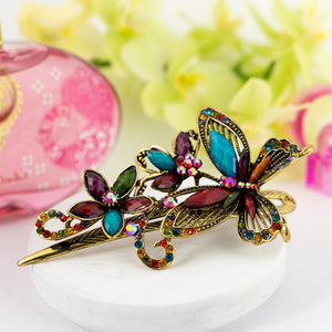 Metal Large Butterfly Style Beak Clip with Multi Color Crystals