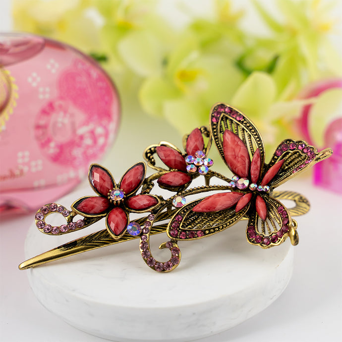 Metal Large Butterfly Style Beak Clip with Pink Crystals