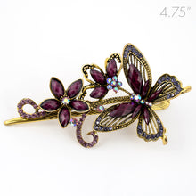 Load image into Gallery viewer, Metal Large Butterfly Style Beak Clip with Purple Crystals