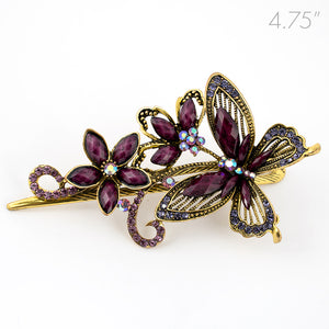 Metal Large Butterfly Style Beak Clip with Purple Crystals