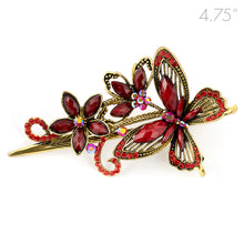 Load image into Gallery viewer, Metal Large Butterfly Style Beak Clip with Red Crystals