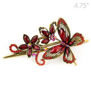 Metal Large Butterfly Style Beak Clip with Red Crystals