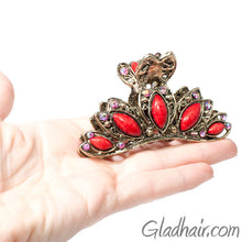 Load image into Gallery viewer, Vintage Gilt Arched Metal Hair Claw Red Decoration