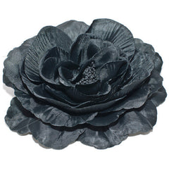 Large Soft Silk Fabric Flower on Metal Beak Clip and Brooch