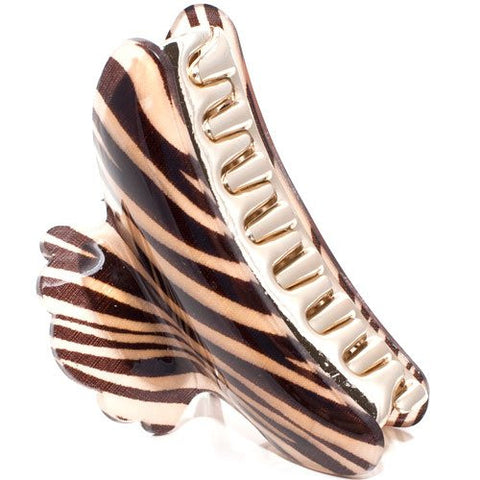 Animal Print Acrylic Top Plastic Claw with Plastic Golden Teeth