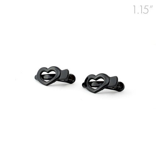 Mini Hearts Black Plastic Beak Clips - Pair