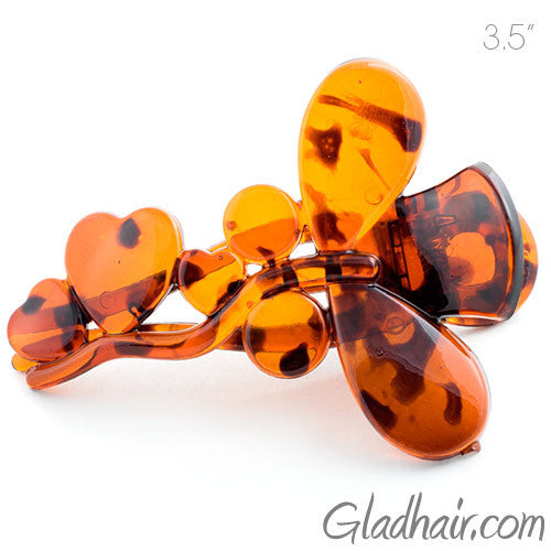 Butterfly with Heart Tortoise Plastic Fork Beak Clip