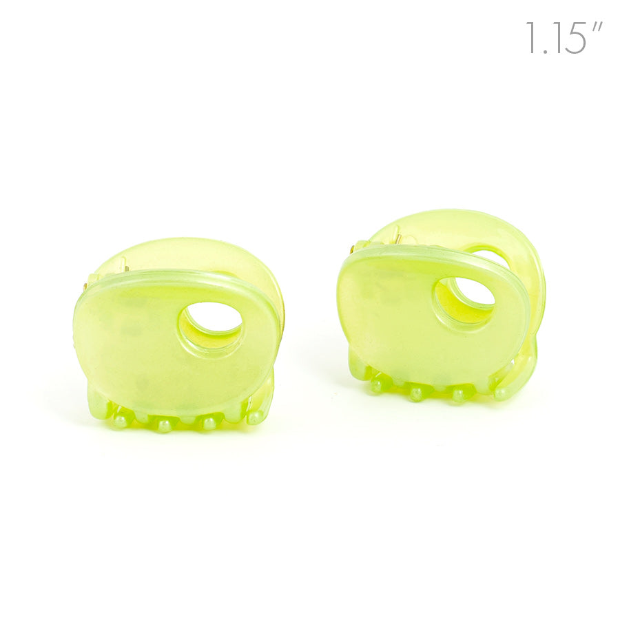 Small Green Oval Plastic Hair Claw - Pair