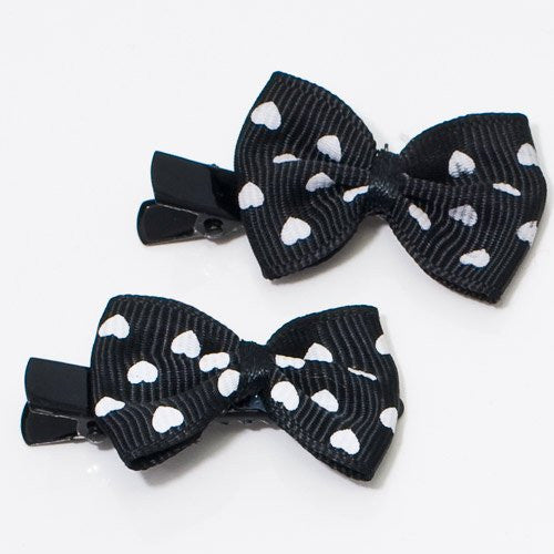 Black and White Bow Beak Clips - Pair