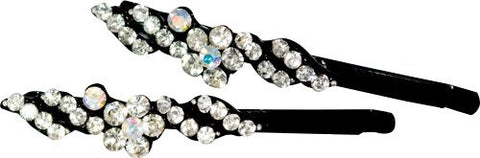 Black Grips with Flower Crystal Stones - Pair