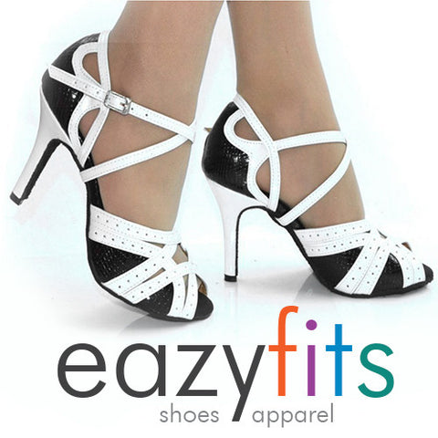 eazyfits Classic Black and White Dancing Shoes for Women 8.5 cm Heel