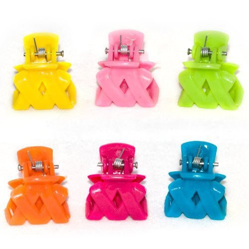 Bright Colored Criss Cross Style Mini Clamps - Card of 6