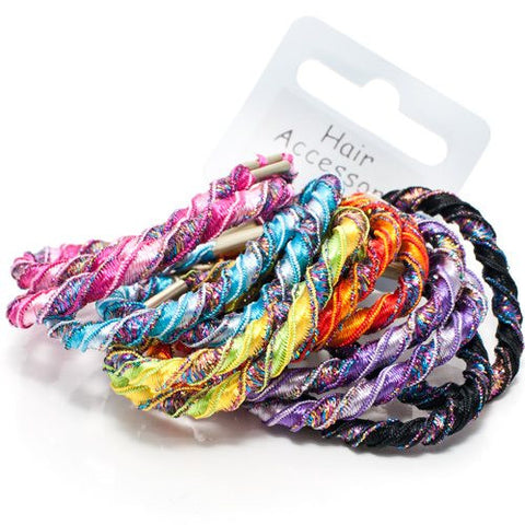 Bright Colors Waved Thread Elastics - Pack of 12