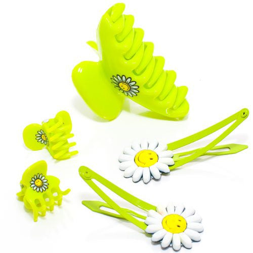 Bright Lime Color Smiley World Hair Set