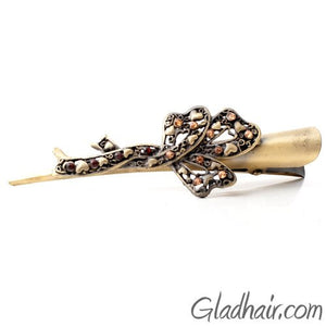 Bronze Colored Beak Clip with Flower design with Crystals